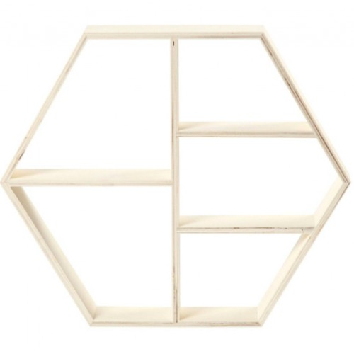 Display wandrek hexagon 33,5 x 38,5 x 5 cm.