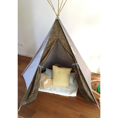 Tipi tent wigwam suede bruin canvas grijs - limited edition