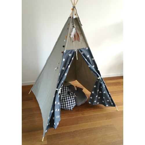 Tipi tent wigwam ster grijs canvas taupe zand